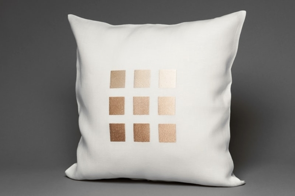 White linen cushion cover with beige squares 1