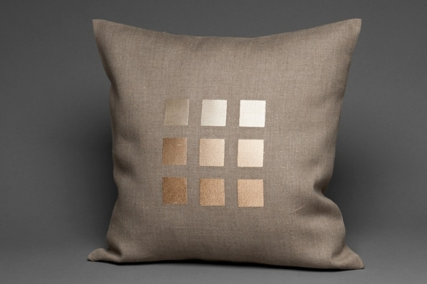 Grey linen cushion cover with beige squares 1