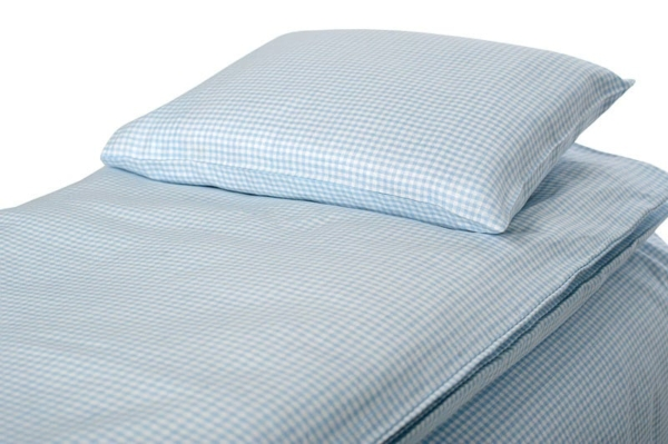 "Blue checked kids' linen duvet cover ""SKY"" 1"