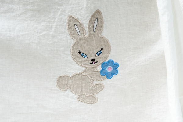 """White washed embroidered linen duvet cover """"Rabbit"""" 2"""