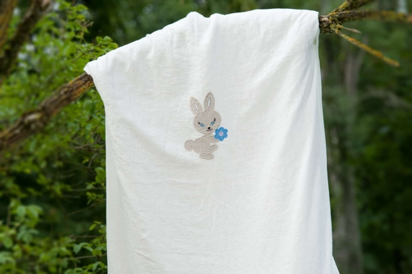 """White washed embroidered linen duvet cover """"Rabbit"""" 1"""