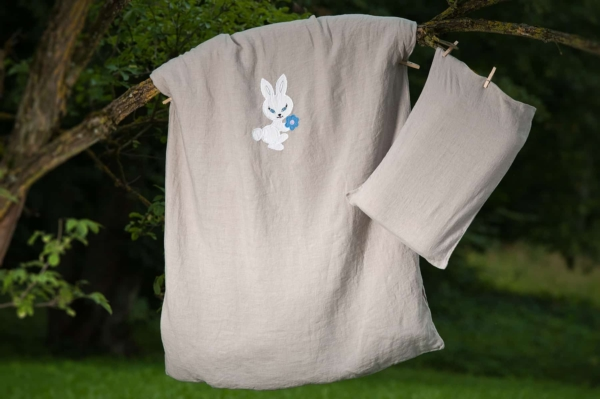 "Grey washed linen pillowcase ""Bunny"" 2"