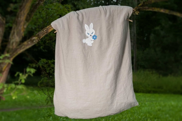 "Grey embroidered washed linen duvet cover ""Bunny"" 1"