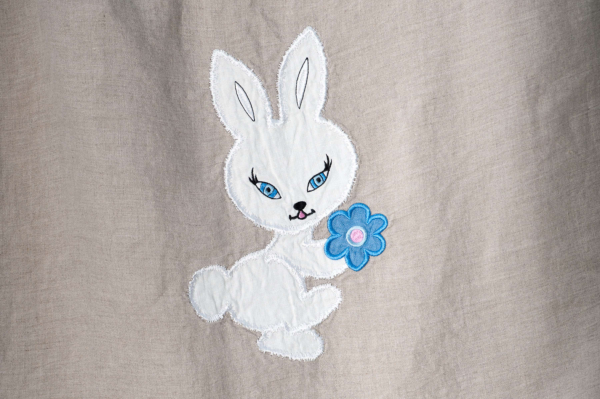 "Grey embroidered washed linen duvet cover ""Bunny"" 2"