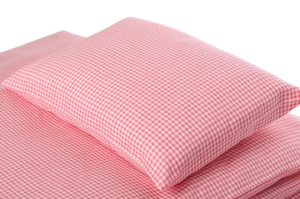 "Pink checked kids' linen pillowcase ""Rose"" 1"