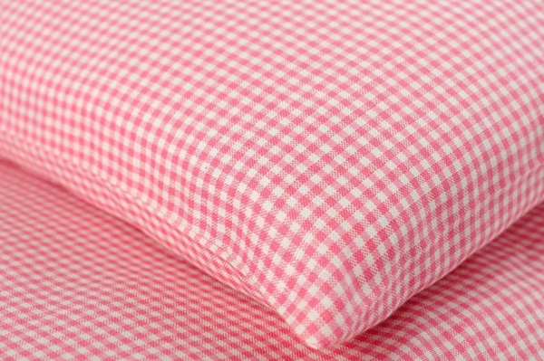 "Pink checked kids' linen pillowcase ""Rose"" 2"