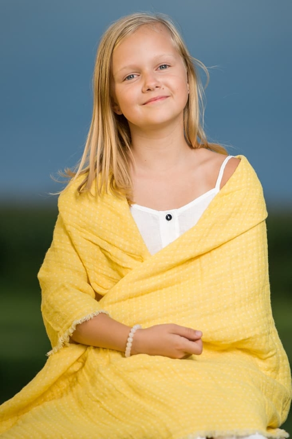 Yellow double sided linen throw 1