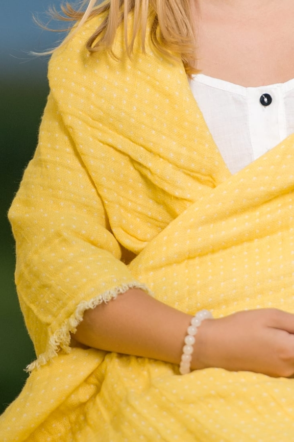 Yellow double sided linen throw 2