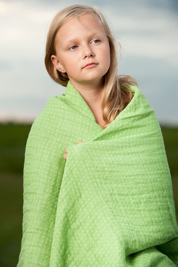 Green double sided linen throw 1