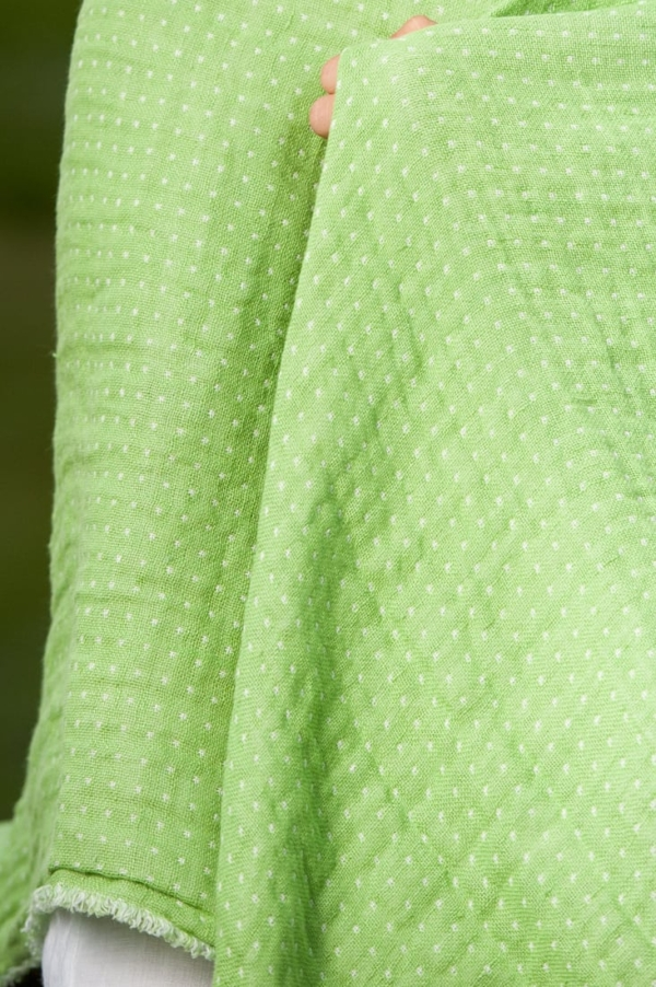 Green double sided linen throw 2