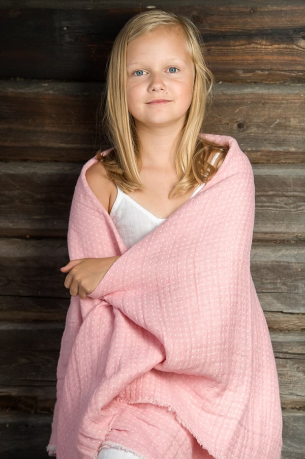 Pink double sided linen throw 1