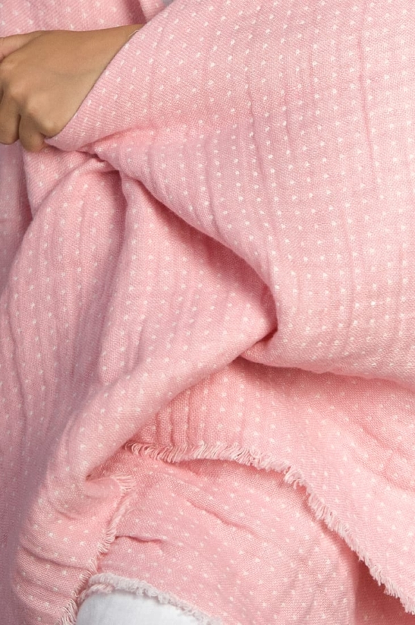 Pink double sided linen throw 2