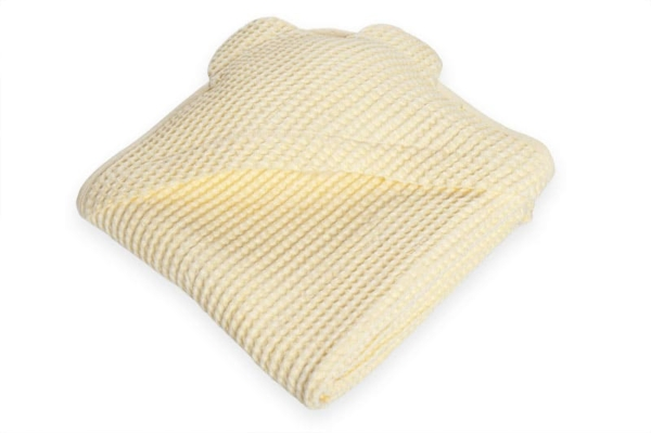 Yellow linen baby towel with a hood 1