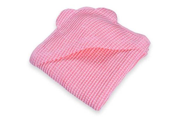 Pink linen baby towel with a hood 1