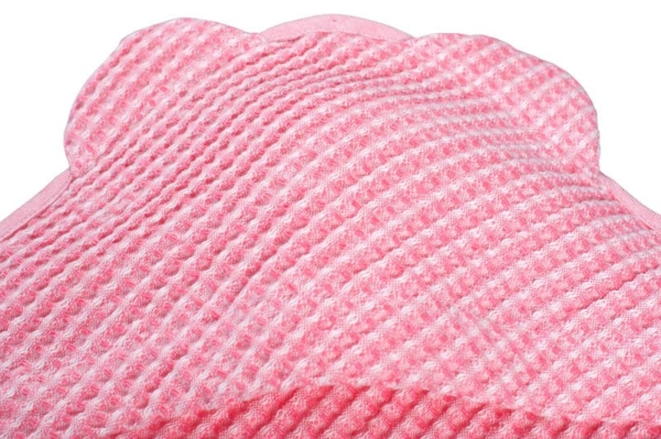 Pink linen baby towel with a hood 2