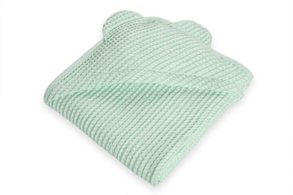Green linen baby towel with a hood 1