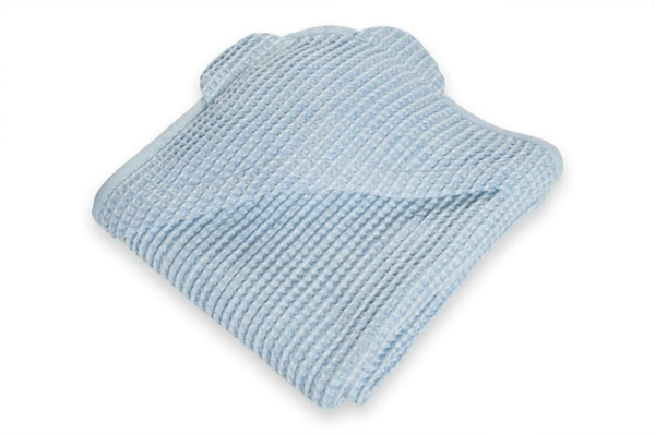 Blue linen baby towel with a hood 1