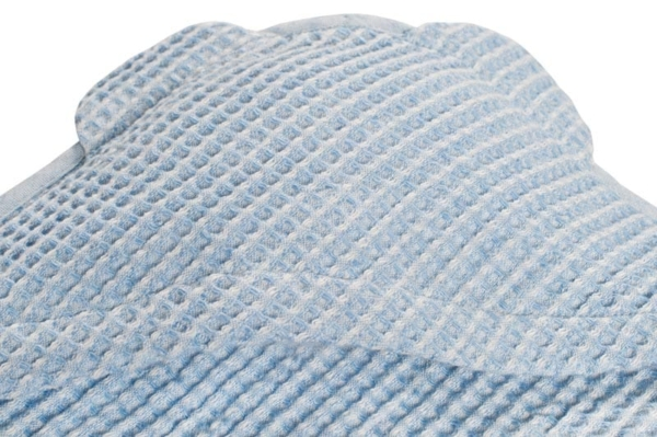 Blue linen baby towel with a hood 2