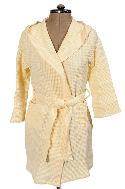 Yellow linen kids' bathrobe with a hood 1