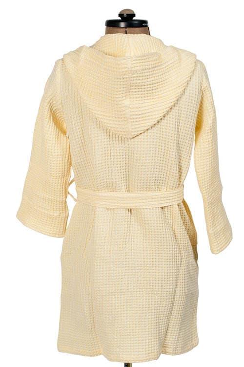 Yellow linen kids' bathrobe with a hood 2