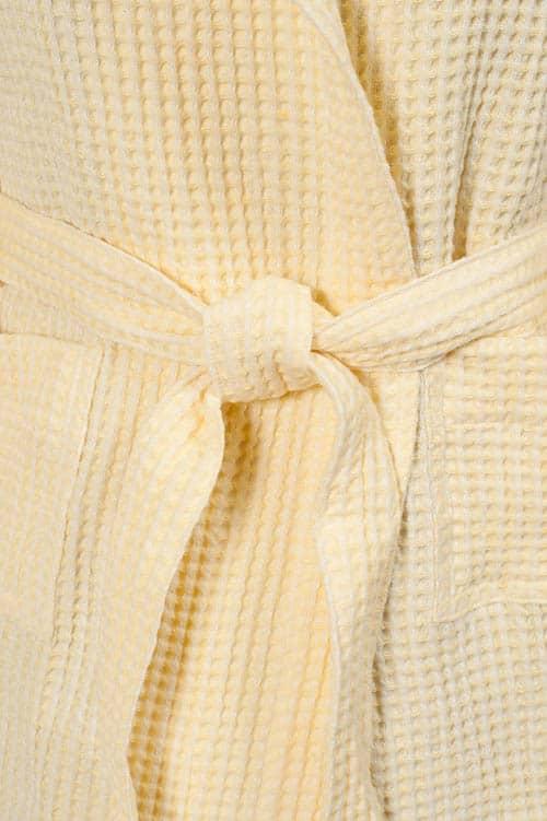 Yellow linen kids' bathrobe with a hood 3