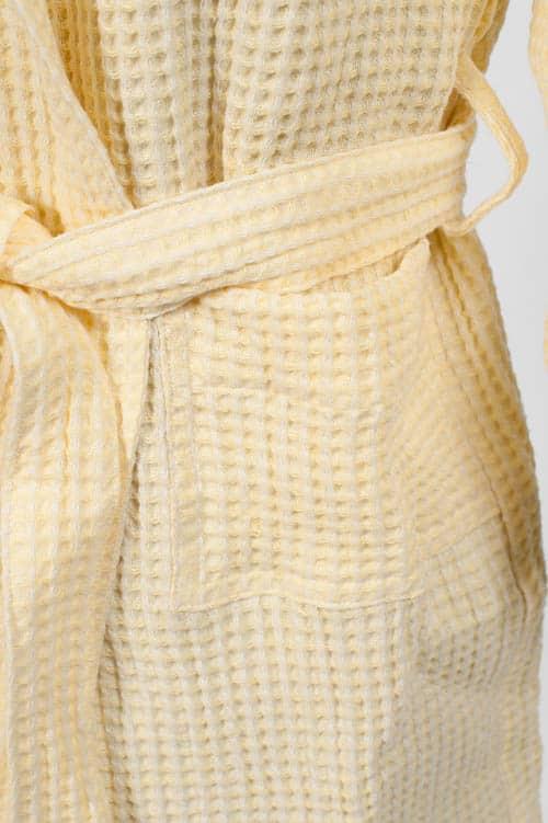 Yellow linen kids' bathrobe with a hood 4