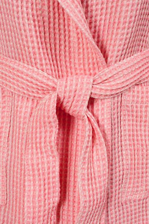 Pink linen kids' bathrobe with a hood 3