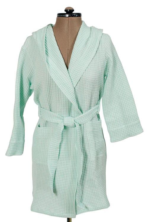 Green linen kids' bathrobe with a hood 1