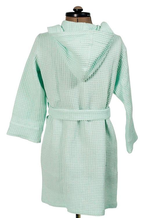 Green linen kids' bathrobe with a hood 2