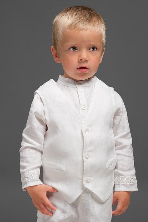 White linen vest for boys 1