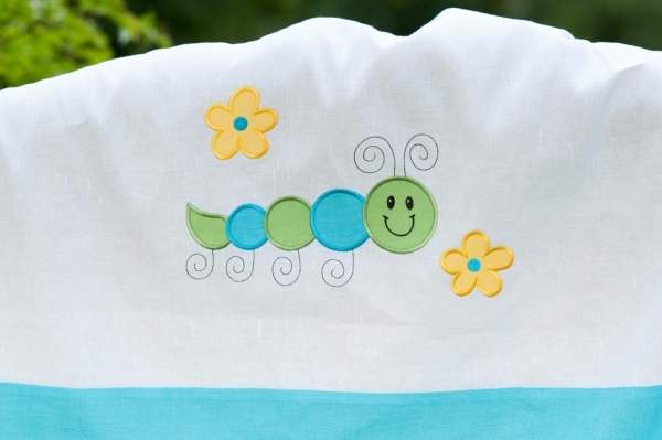 """Turquoise embroidered duvet cover """"Cloud"""" 3"""