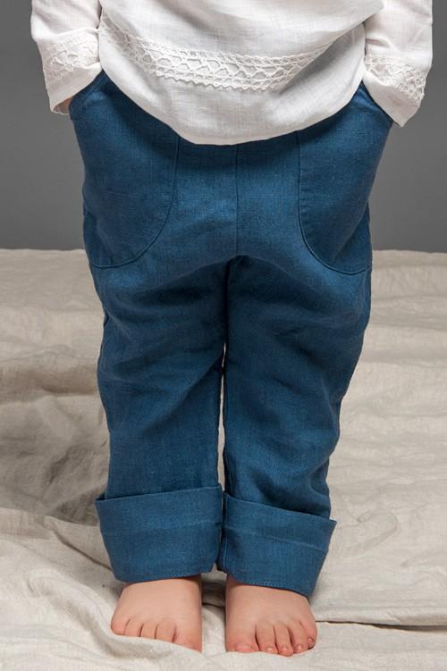 Blue linen boy trousers 1