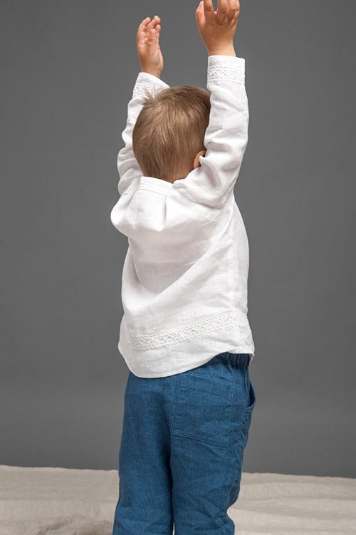 Blue linen boy trousers 3