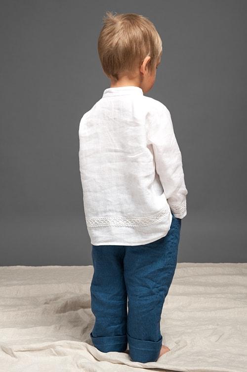 Blue linen boy trousers 4