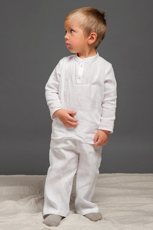 White linen boy shirt with lace 1