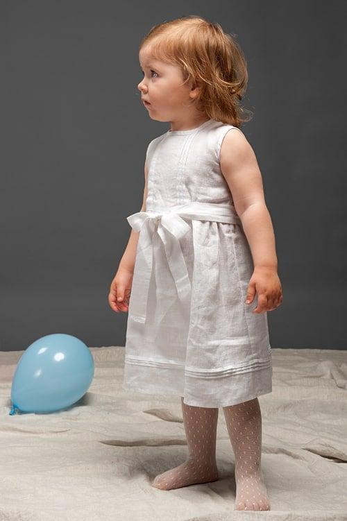 White sleeveless linen girls' dress 1