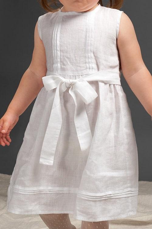 White sleeveless linen girls' dress 4