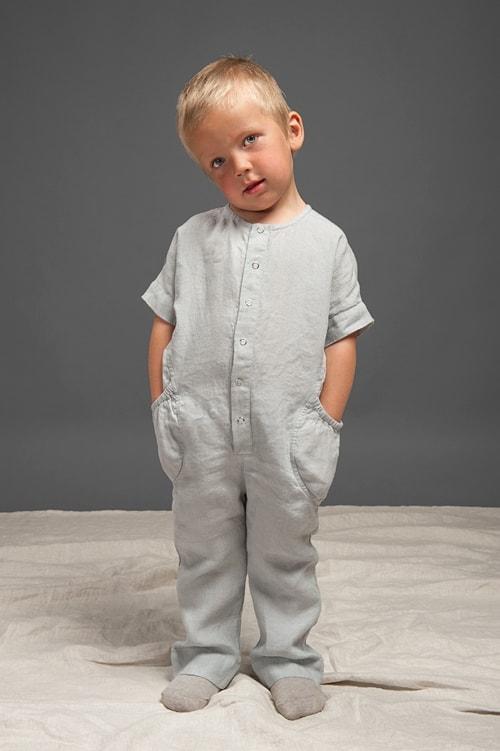 Grey linen onesie for kids 1