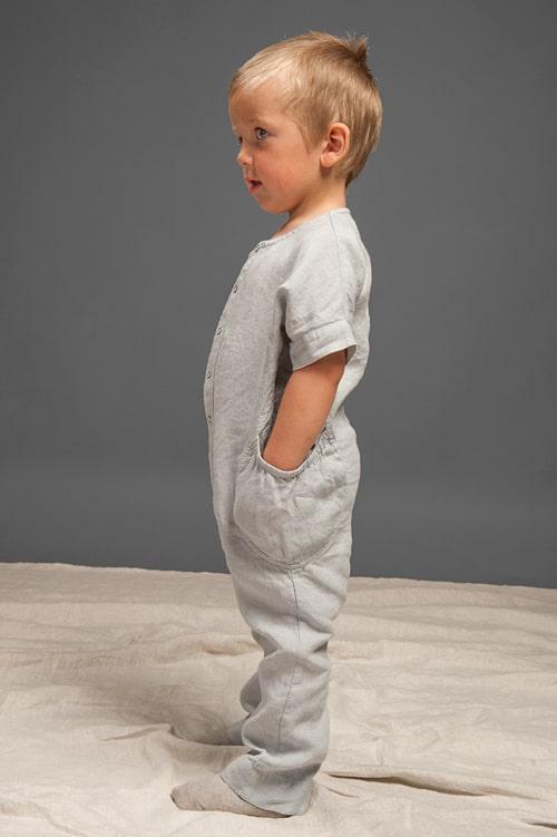 Grey linen onesie for kids 2