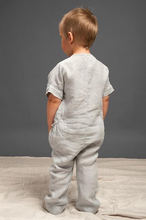 Grey linen onesie for kids 3