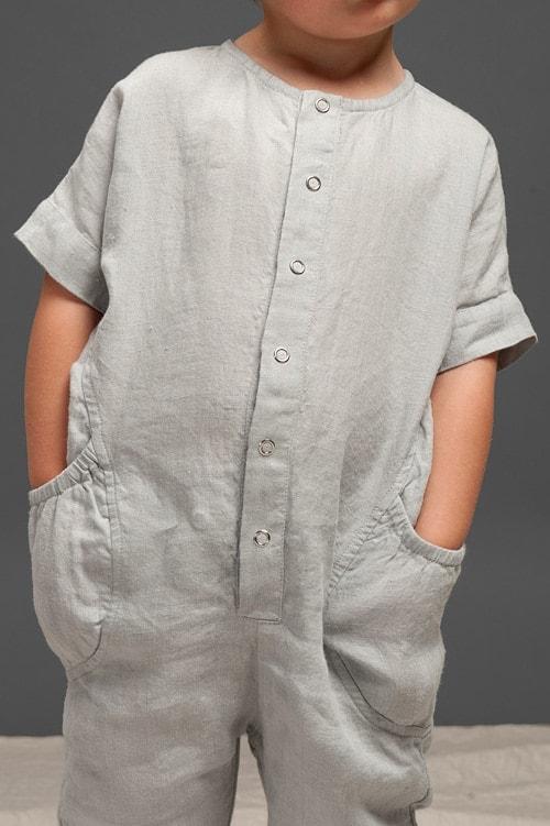 Grey linen onesie for kids 4