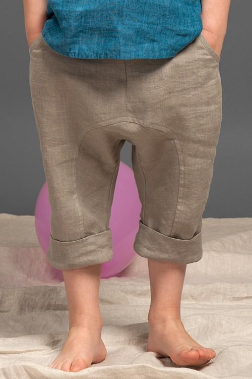 Grey linen harem-style boy shorts 1