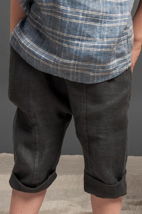 Dark grey linen harem-style boy shorts 1