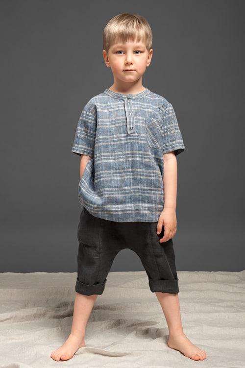 Dark grey linen harem-style boy shorts 2