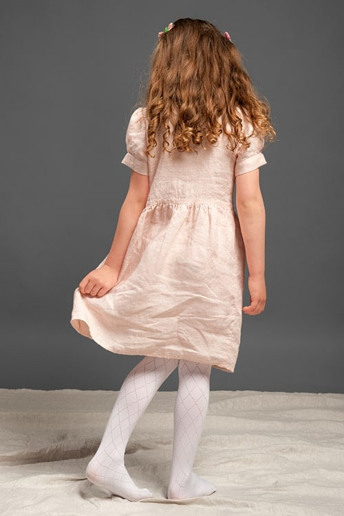 Pink linen girls' dress with puffy sleeves 3