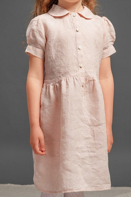 Pink linen girls' dress with puffy sleeves 4