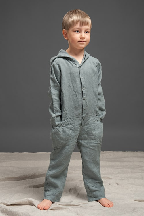 Dark grey linen kids' onesie with a hood 1