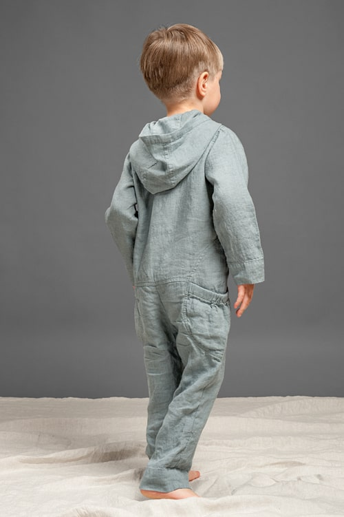 Dark grey linen kids' onesie with a hood 2