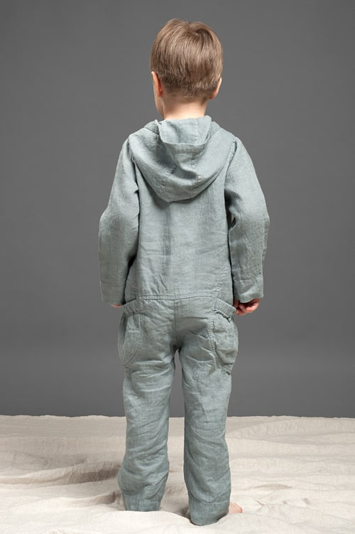 Dark grey linen kids' onesie with a hood 3