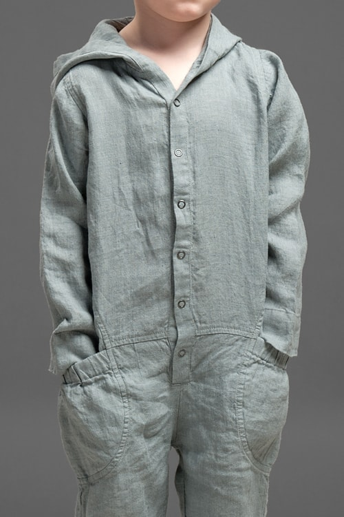 Dark grey linen kids' onesie with a hood 4